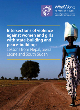 Report Cover: Intersections of violence against women and girls with state-building and peace-building (full report) woman carrying a bag on her head with the sky as a backdrop behind her