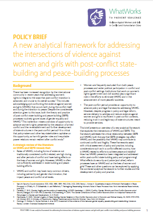 Report cover: A new analytical framework for addressing the intersections of violence against women and girls with post-conflict state-building and peace-building processes