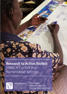 Toolkit Cover: Research to Action Toolkit VAWG in Conflict and Humanitarian Settings; picture of a woman artist drawing during participatory session