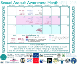 Calendar of the Sexual Assault Awareness Month 2018 events