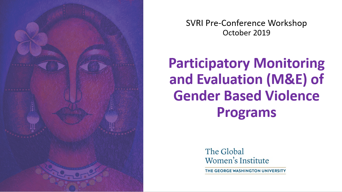 Powerpoint title slide: Participatory Monitoring and Evaluation (M&E) of Gender Based Violence Programs