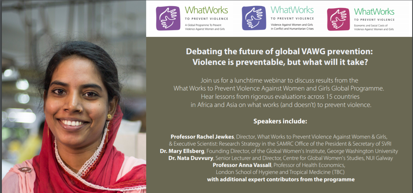 Picture of a woman smiling with flyer text for the What Works to Prevent Violence Webinar, Debating the future of global VAWG prevention: Violence is preventable, but what will it take?