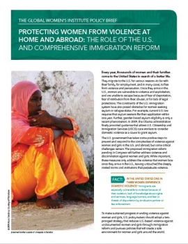 Policy Brief Cover: Protecting Women from Violence at Home and Abroad: The role of the U.S. and comprehensive immigration reform (Woman in a veil sitting on the ground)