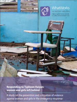 Report Cover: Responding to Typhood Haiyan (destroyed classroom)