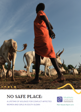 Report Cover: No Safe Place (full report) woman and cows