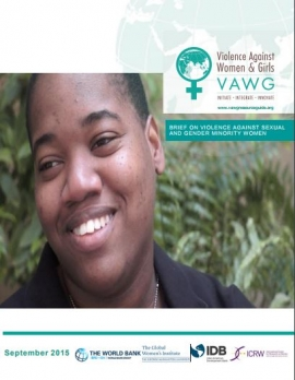 Resource guide cover: Violence against woman and girls (Woman smiling)