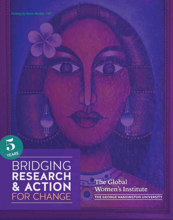 Report Cover: 5 Years: Bridging Research and Action for Change (Painting of a woman)