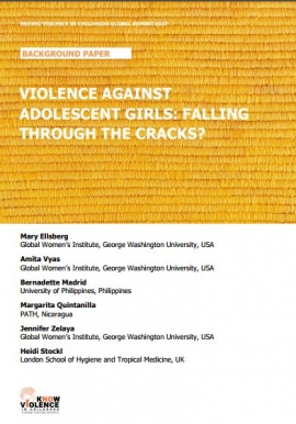 Report Cover: Violence Against Adolescent Girls: Falling through the cracks (Gold toned background)