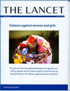 Report cover: The lancet: Violence against women and girls (Photo of Women in a circle)