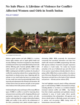 Report cover: No Safe Place a Lifetime of Violence fo Conflict-Affected Women and Girls in South Sudan. (Women in a field with cows)