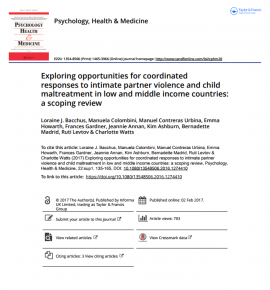 Report cover: Exploring Opportunities for Coordinated Responses to Intimate Partner Violence and Child Maltreatment in low and middle income countries: A scoping review