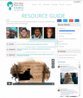 Website screen shot for the Resource Guide page