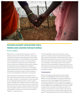 Report cover: Violence against Adolescent Girls: Trends and lessons for East Africa with two girls holding hands on the front
